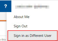 Screenshot showing how to login as a different user
